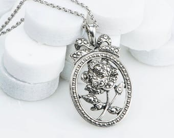 """Mother Personalized Jewelry Necklace, Silver Rose """"I Love You Mother"""" Necklace, Vintage Marcasite Pendant, Long Jewelry"""