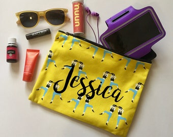 FREE SHIPPING Personalized Makeup bag | Gym pouch | Gift for her | Purse | Clutch | zippered bag | Crossfit | Yoga | WOD | funny | gym bag