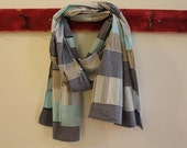Custom order reserved for Judy (jac) Patchwork Scarf, Chambray Blue Natural, Upcycled Cotton Shirts