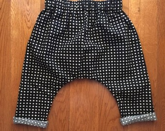 Baby Harem Pants - Black & White Square Print