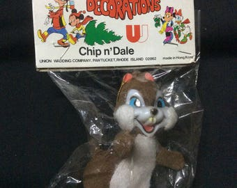 Wonderful World of Disney Christmas Ornament Chip (and Dale) MIB - 1970s