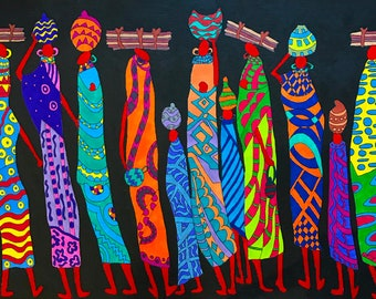 Women Power - ooak - 19 x 13.6ins (49 x 34.5 cms) The women of Africa are strong and resilient