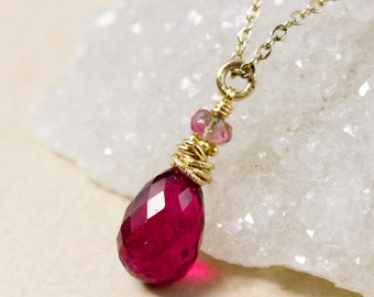 Gold Juicy Pink Tourmaline Necklace - Watermelon Tourmaline - October Tourmaline Necklace