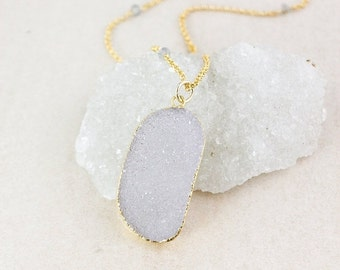 50 OFF SALE Gold Free Form Druzy Necklace - Blue Labradorite - Layering Necklace