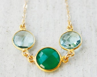 ON SALE Green Onyx and Aqua Quartz Necklace - Tri-Stone Necklace - 14KT Gold Fill