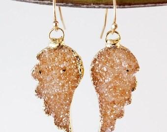 50 OFF SALE Orange Druzy Angel Wing Earrings - Peach Champagne Druzy - 14K Gf, Choose Your Druzy