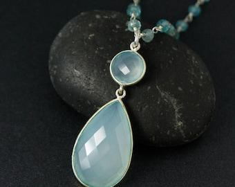 20% OFF SALE Aqua Blue Chalcedony Necklace on Blue Aquamarine Chain - Spring Jewelry - Something Blue