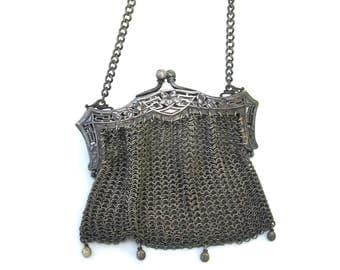 vintage silver mesh purse  ...   petite mesh bag   ...   art deco