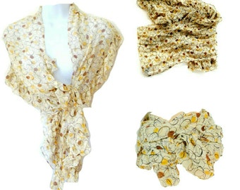 Shawl - Scarf - Silk - Ruffles - Geometric - KENNETH COLE - Circles - Beige Brown Gold - Chic - French - Ascot - Versatile - Recycled