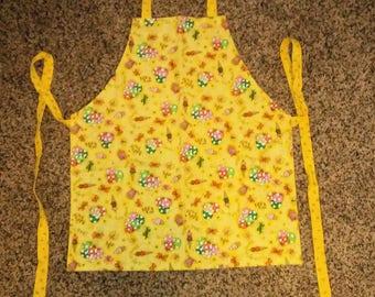 "Children's Handmade Reversible Apron, Artist Smock 20"" long, yellow, balloons, ice cream, kitchen apron, baking apron, girl clothing KBD201"