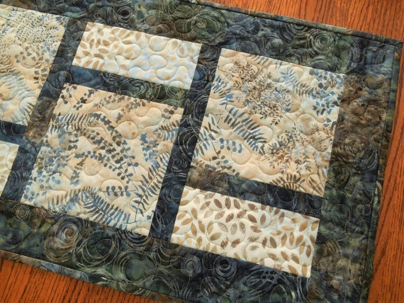 Quilted Batik Table Runner with Leaves and Ferns in Shades of Blue and Brown, Quilted Batik Table Mat, Quilted Tablecloth, Quiltsy Handmade