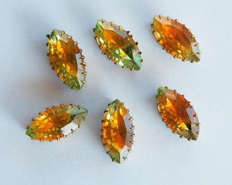 Vintage 6 Green Orange Glass Navette Marquise Sew On Bead Brass • 15x7mm