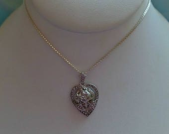 Vintage Sterling Silver Marcasite Heart Rose Flower Pendant Necklace