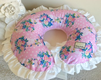 Vintage Pink Roses Nursing Pillow Cover, Baby Pink Boppy Cover, White Boppy Cover, Baby Girl Nursing Pillow Cover, Vintage Roses Boppy Cover