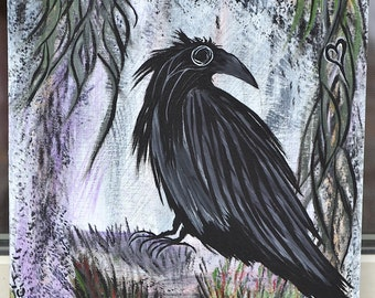 Crow/Bird Art, Wildlife/Nature/Love, Original Acrylic Painting, Allow Your Heart To Guide You, Wood Panel