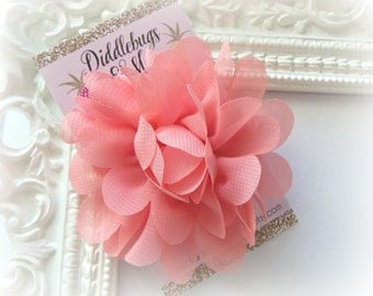 Coral Chiffon Flower Hair Clip, Flower Hair Clip, Hair Clip For Flower Girl, Easter Hair Clip,  Photo Prop, Coral Hair Clip With Flower