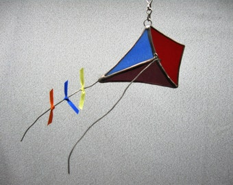 Kite stained glass suncatcher