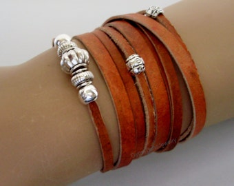 CUSTOM Triple Boho Leather Wrap Bracelet - Genuine Natural Indian Leather Triple Wrap W/ Silver / Antique Silver Accent beads -  Usa 89