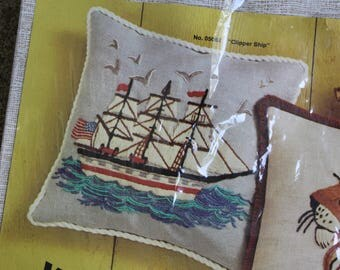Vintage Wonder Art Stitchery Kit Pillow Embroidery Clipper Ship Tapestry Nautical Ocean DIY Do It Yourself Supplies Crafting