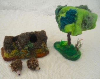 Hedgehogs in log, hollow log, two hedgehogs, Waldorf, play mat, play scape, nursery school, needle felted, tree house, kindergarten