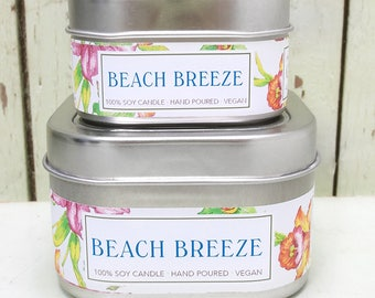Beach Breeze Soy Candle 4 oz. - Green Daffodil  -  Handpoured - Anne and Siouxsan -C4