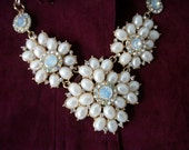 Big Bold Pearl Necklace Bib w Rhinestones Bib  + earrings  Statement Bridal Jewelry inspired by TV series The ROYALS.