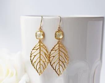Yellow Citrine Glass Matte Gold Leaves Earrings Gold Filigrees Modern Bohemian Earrings