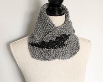 Grey Knitted Yarn Scarf with Black Embroidery