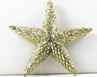 Vintage Very Large Gold Tone Starfish Brooch Pin (B-1-3)