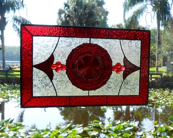 Antique Stained Glass Window Panel, Vintage Avon Cape Cod Ruby Red Plate, Stained Glass Transom Window, OOAK Stained Glass Window Valance