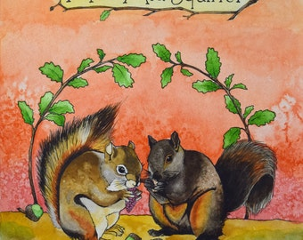 Mr. & Mrs. Squirrel Archival Watercolor Art print, Nursery art print, 8x10, 11x14.