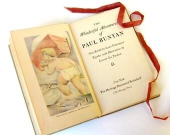 The Wonderful Adventures of Paul Bunyan by Louis Untermeyer, Illustrated by Everett Gee Jackson, 1945, American Folklore, Folklore wedding
