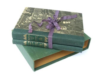 Jane Eyre by Charlotte Bronte / Wuthering Heights by Emily Bronte Rare Boxed Book Set, Fritz Eichenberg Art Antique Book Set, Gift Book Set,