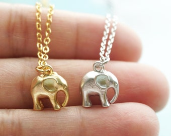 Elephant Necklace, Tiny Gold Silver Baby Elephant, Choker Length, Symbolic Charm, Wisdom, Layering Necklace, Wedding, Bridesmaid Gift