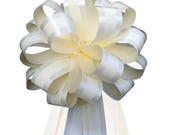 6 Ivory Eggshell Cream Stripe Pew Pull Bows Tulle Tails Wedding Church Chair Decorations