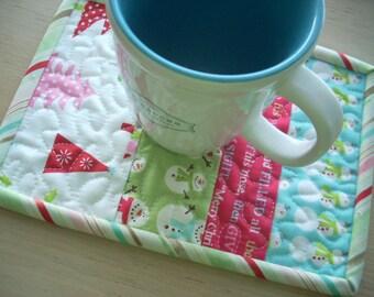 be merry mug rug - FREE SHIPPING
