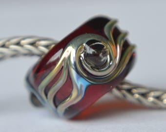 Unique Red Handmade Lampwork Glass European Charm Bead - SRA - Fits all charm bracelets - Silver Core Options