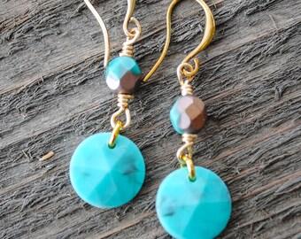 Turquoise Drop Earrings - Boho Earrings, Bohemian Earrings, Southwest Earrings, Country Chic