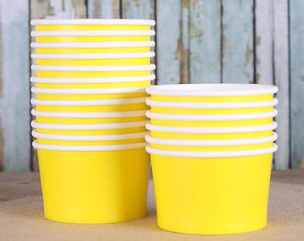 Small Yellow Ice Cream Cups, Ice Cream Bowls, Small Sundae Cups, Snack Cups, Yellow Dessert Cups, 4oz Ice Cream Cup, Frozen Yogurt Cups (18)