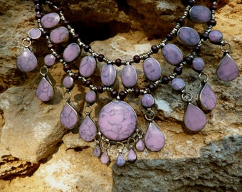 A Pretty  Afghan Tribal Necklace.  Pinky/Mauve.  Hand made.