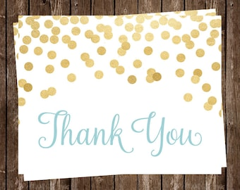 Thank You Cards, Gold, Confetti, Glitter, Baby Shower, Bridal Shower, Wedding Shower, Thank You Notes, Aqua, 24 Folding Notes, FREE Shipping