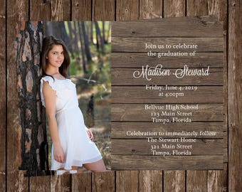 Graduation Announcements, Country, Wood, Rustic, Chic, Barn, Party Invitations, Senior Picture,  10 Printed Invites, Graduate, FREE Shipping