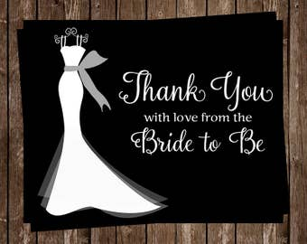 Bridal Shower Thank You Cards, Wedding, Dress, Black, White, Gray, Sash, Set of 24 Folding Notes, FREE Shipping, ELGBK, Elegant Gown Black
