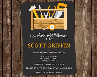 Tool Party, Shower, Bachelor Party Invitations, Wedding, Grooms Party, Black, Toolbox, 10 Printed Invites, FREE Shipping, TOOLP, Hipster
