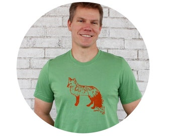 Fox Shirt, Unisex Clothing, Men's Tshirt, Short Sleeved Cotton Crewneck, Made in America, Ethical Clothing, Leaf Green, American Made Shirt