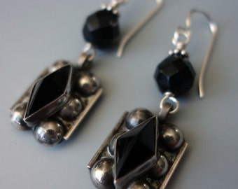 Mexico Faceted Onyx Sterling Earrings