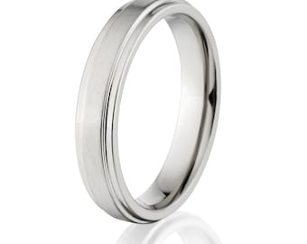 made in the USA new titanium 4MM band wedding band titanium ring titanium band - 4RC-Brush Center