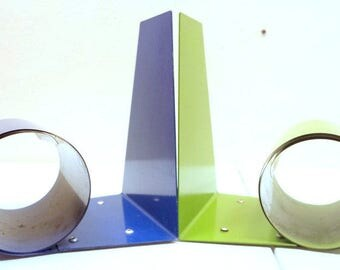Mid Century Mod Green and Blue Scroll Bookends