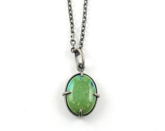 Green Turquoise Cabochon Minimal Pendant Oxidized Silver