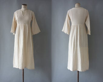 Lilly dress | Indian creme cotton gauze dress with crochet bodice | 1970 by cubevintage | small